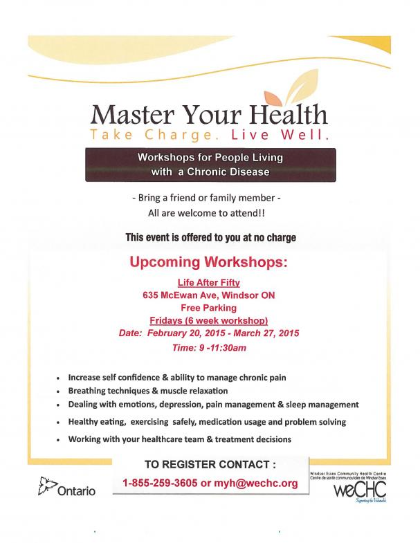 Master Your Health - Workshops for those living with a Chronic Disease 2015