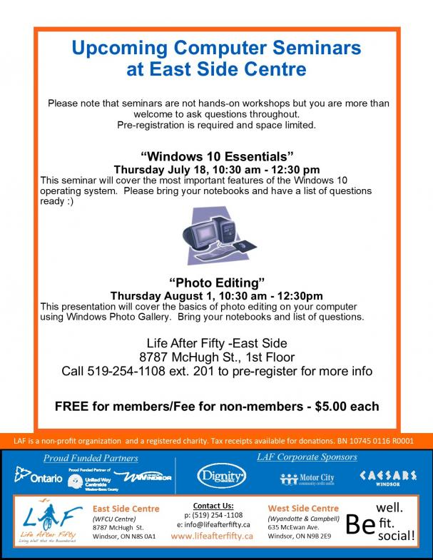 Summer Computer Workshops - East Side Centre