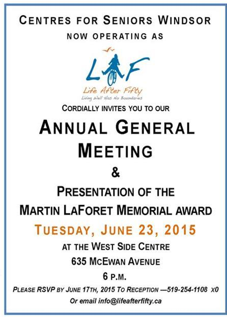 Life After Fifty: 2015 Annual General Meeting
