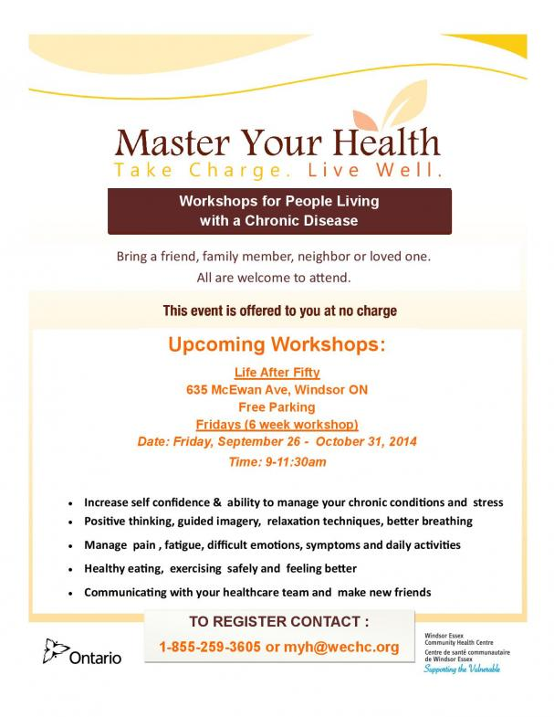 Master Your Health- Workshops for those living with a Chronic Disease