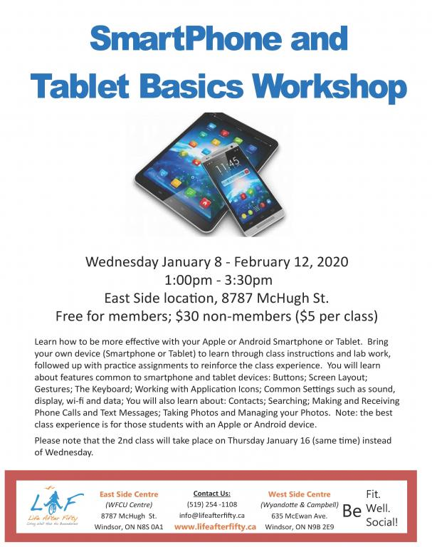 Smart Phone Tablet Workshop January 2020