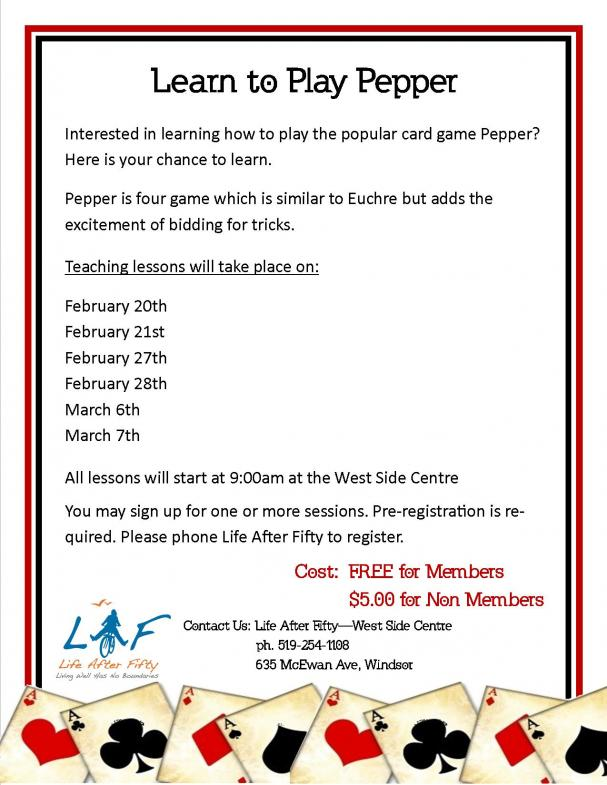 Learn to Play Pepper - March 7th  (Multiple Workshops) WEST SIDE CENTRE