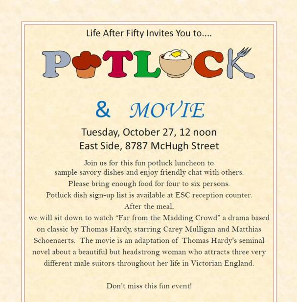 October Potluck and a Movie!