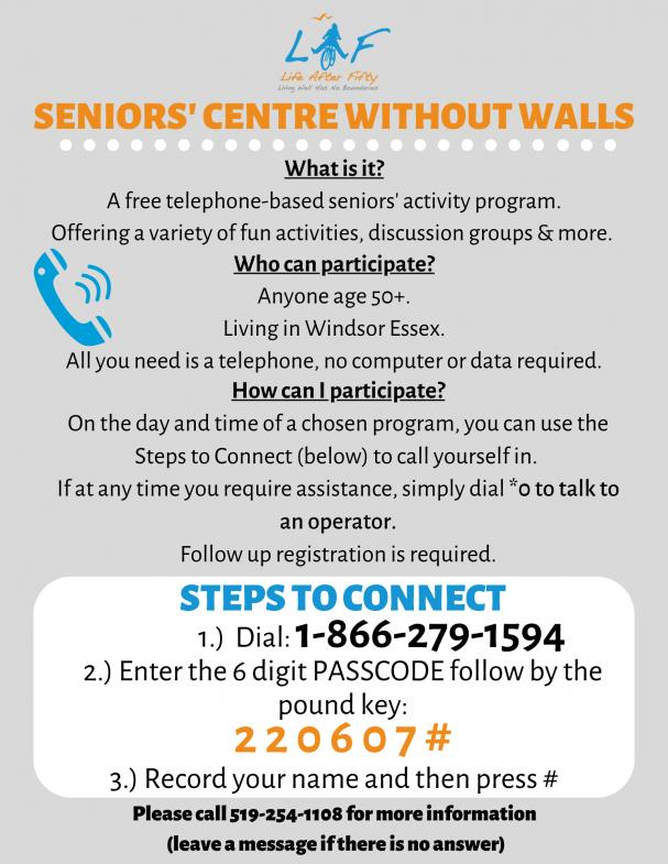 NEW PROGRAM: Seniors' Centre Without Walls
