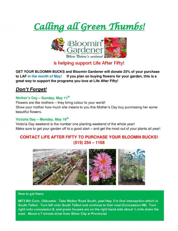 Support Life After Fifty by shopping at Bloomin' Gardener!
