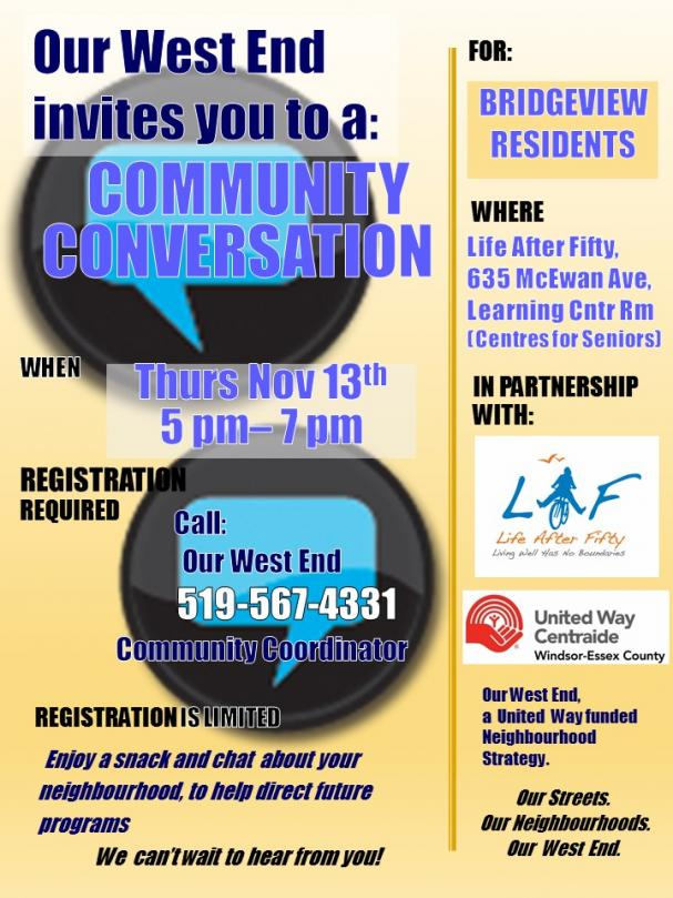 Bridgeview Neighbourhood Community Conversation with Our West End