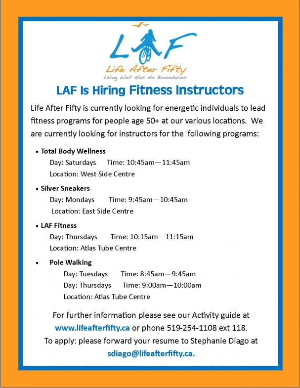We're Hiring! Fitness Instructors