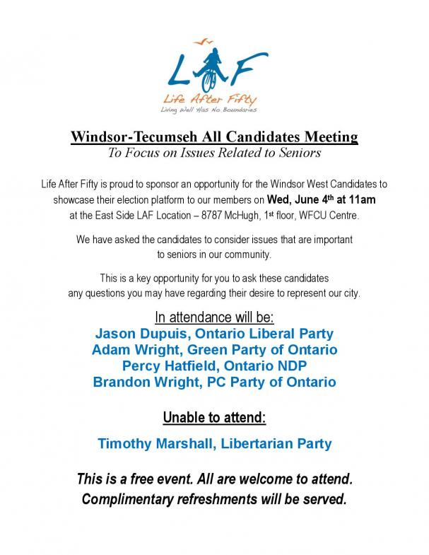Windsor Tecumseh All Candidates Meeting