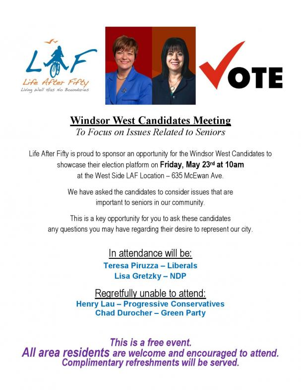 Life After Fifty Hosts Windsor West Candidates Meeting