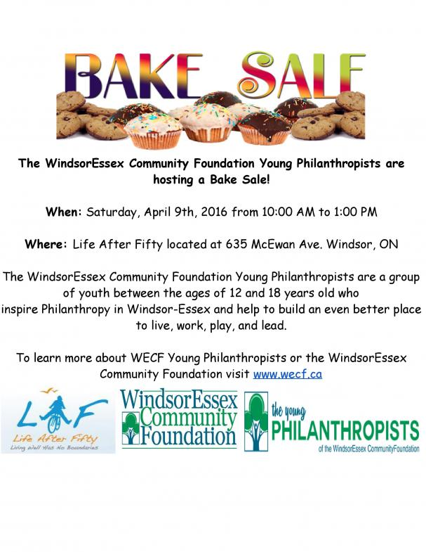 Bake Sale on April 9th