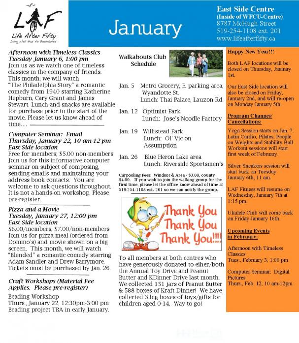 Monthly LAF: January 2015 EAST SIDE