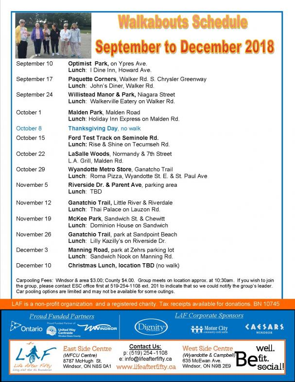 Walkabouts September - December 2018