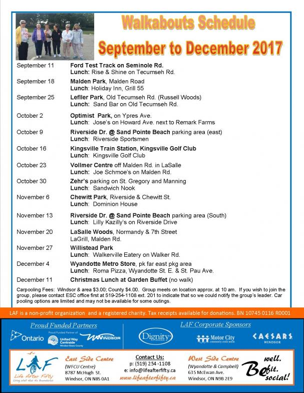 Walkabouts September - December 2017