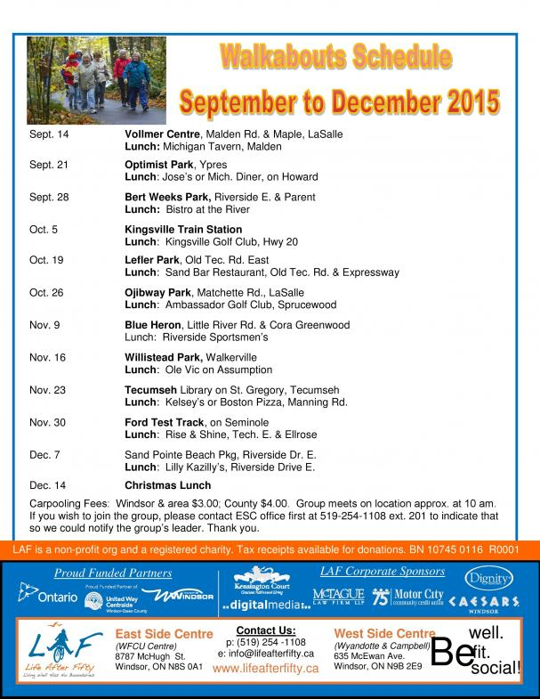 WALKABOUTS: Fall 2015 Schedule